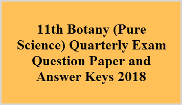 11th Botany (Pure Science) Quarterly Exam Question Paper and Answer Keys 2018