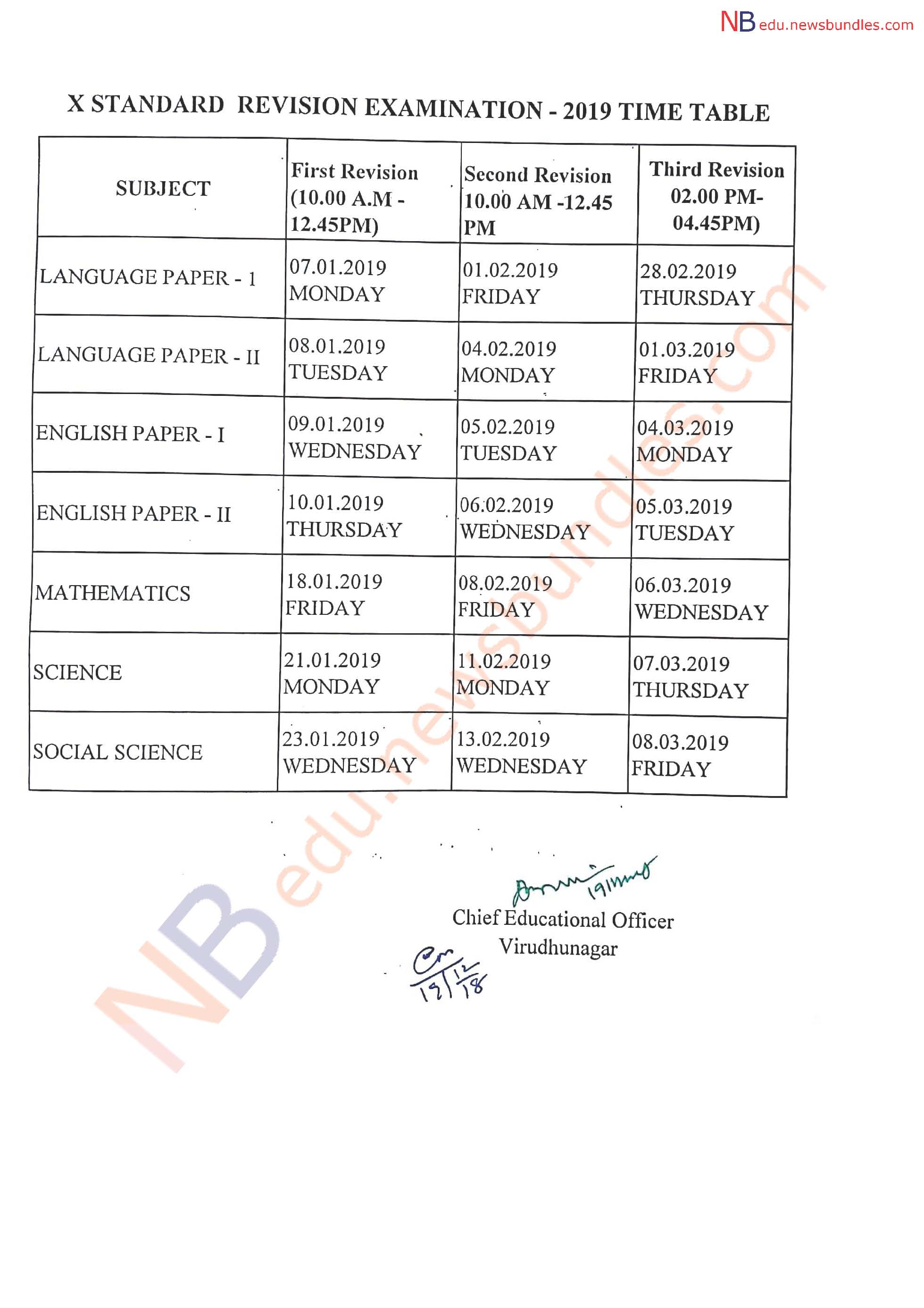 Virudhunagar district - 10th, 11th, 12th First Revision Test 2019 - Time Table Published